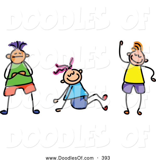 Vector Clipart of a Group of Three Friendly Kids by Prawny - #393 clipart stock
