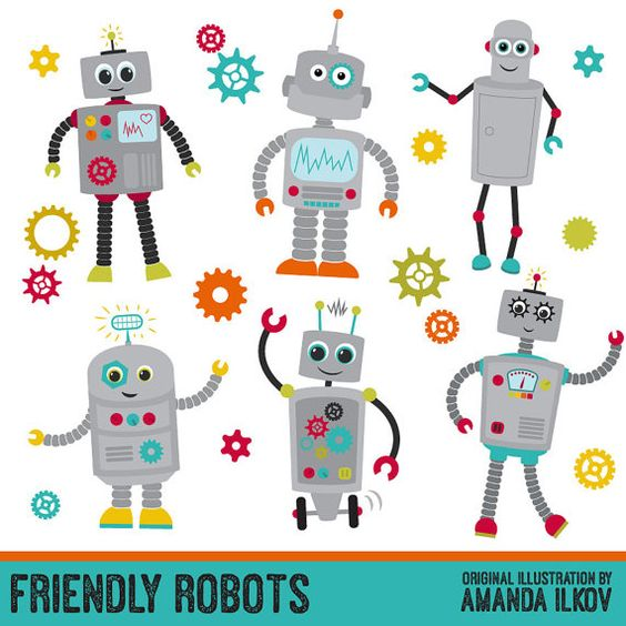 Premium Robots & Gears Clip Art with Vectors - Friendly Robot ... jpg