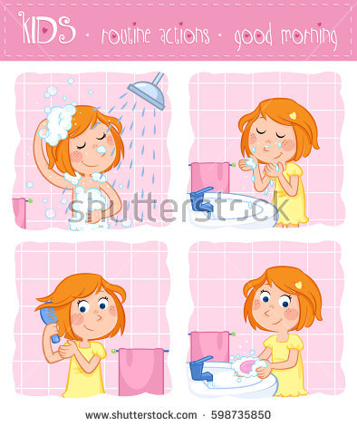 Kids hand washing clipart graphic transparent Cute Little Girl Wash Her Face Stock Illustration 296778611 ... graphic transparent
