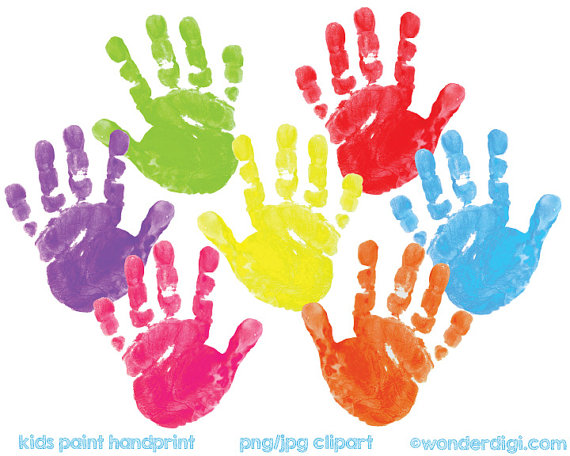 Kids handprint clipart jpg black and white Kids Clipart painted Clip Art - REAL Kids Paint Hand Print ... jpg black and white