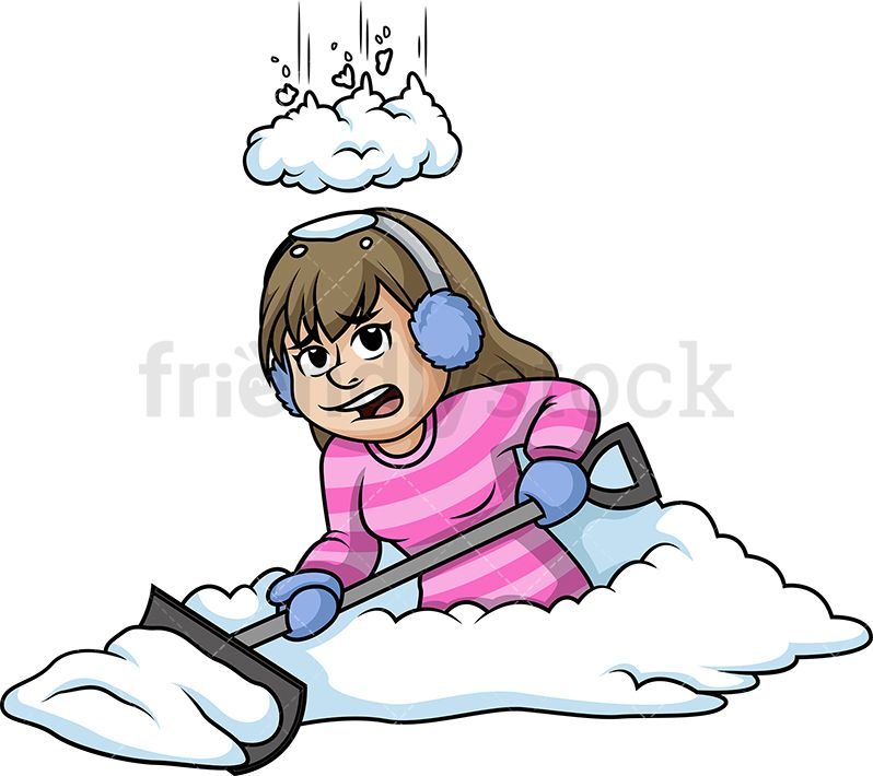 Kids helping shovel snow the snow clipart png freeuse stock Snow Falling On A Woman While Shoveling | Christmas Vector ... png freeuse stock