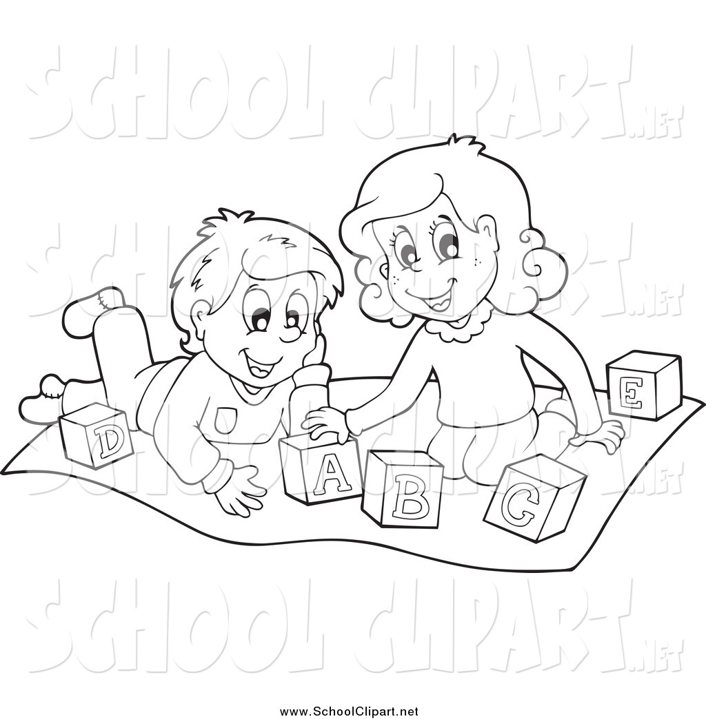 Kids helping siblings clipart black and white clip transparent stock Clip Art of Black and White Happy Kids Playing with Letter ... clip transparent stock