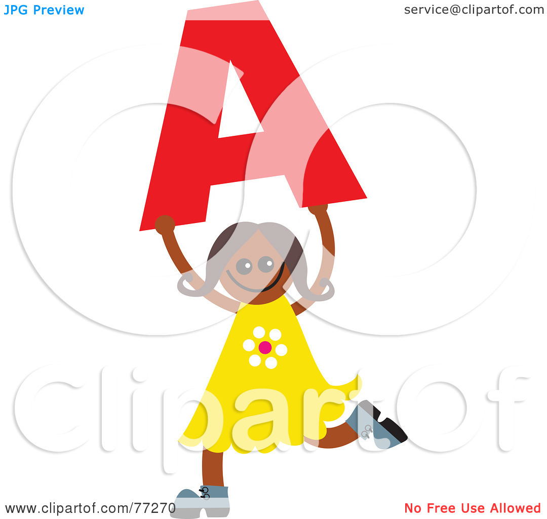 Kids holding alphabet letters clipart stock Royalty-Free (RF) Clipart Illustration of an Alphabet Kid Holding ... stock