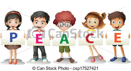 Kids holding alphabet letters clipart clipart freeuse download Vector Illustration of Kids holding the PEACE letters ... clipart freeuse download