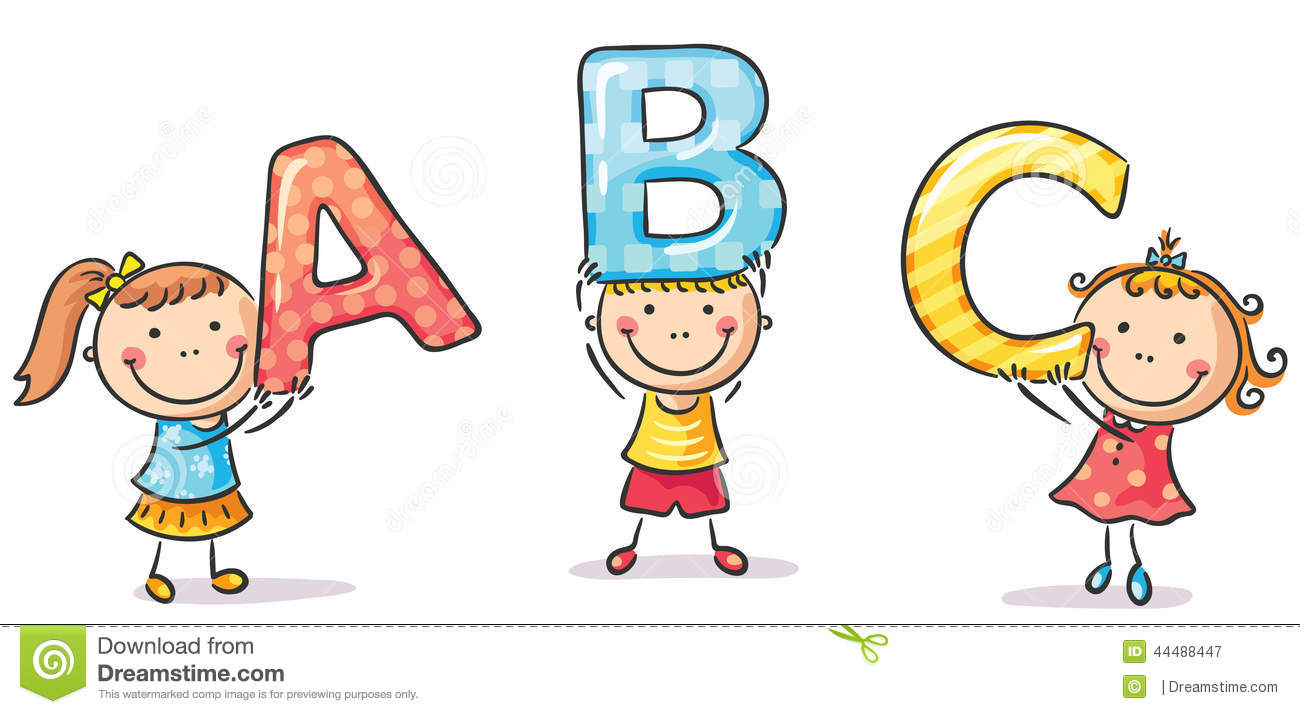 Kids holding alphabet letters clipart clip art black and white download Little Kids Holding Letters Stock Vector - Image: 44488447 clip art black and white download