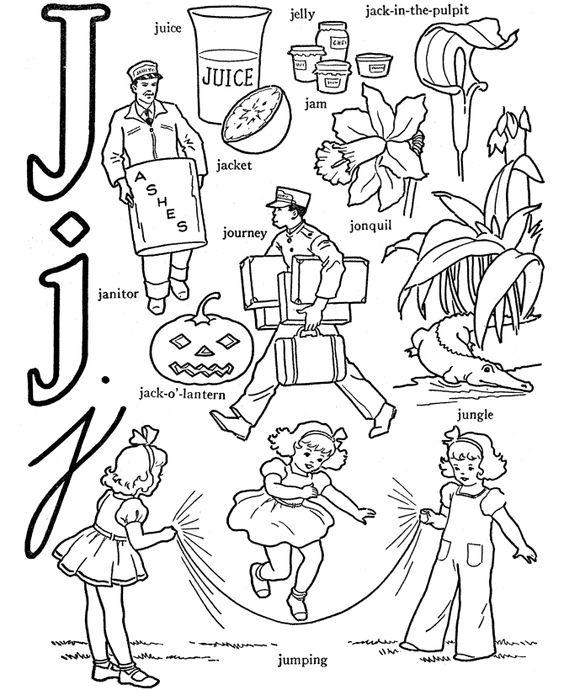 Kids holding alphabet letters clipart letter j clip art royalty free download Alphabet Words Coloring Activity Sheet | Letter J - Juice | Gift ... clip art royalty free download