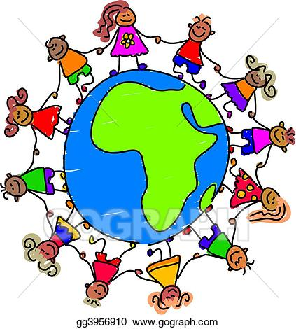 Kids holding hands around the world clipart image free Stock Illustrations - African kids. Stock Clipart gg3956910 ... image free