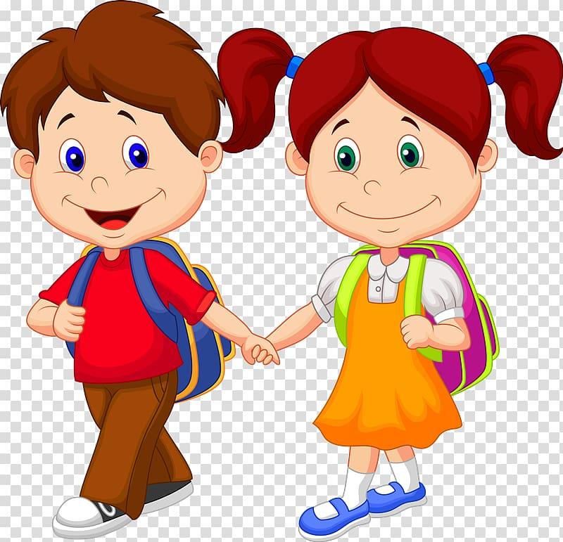 Kids holding hands backpacks on clipart clipart transparent Children holding hands, Cartoon Child, school children ... clipart transparent