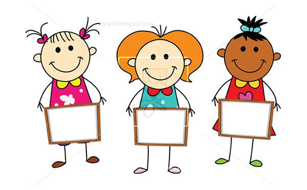 Kids holding sign clipart black and white stock Ethnic Kids Holding Banners | Clipart | Clip art ... black and white stock