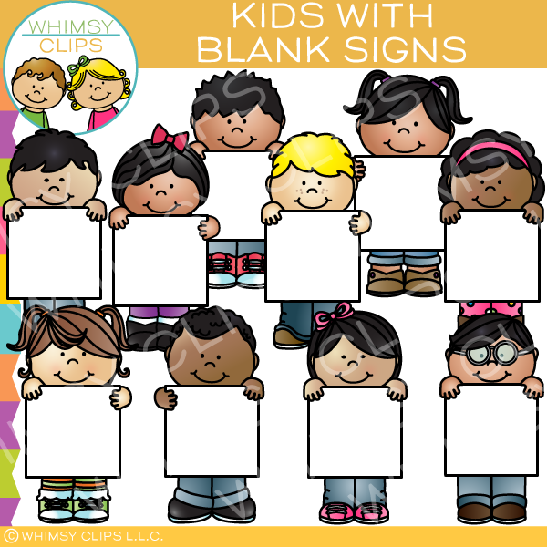 Kids holding sign clipart clip art library stock Kids with Blank Signs Clip Art clip art library stock