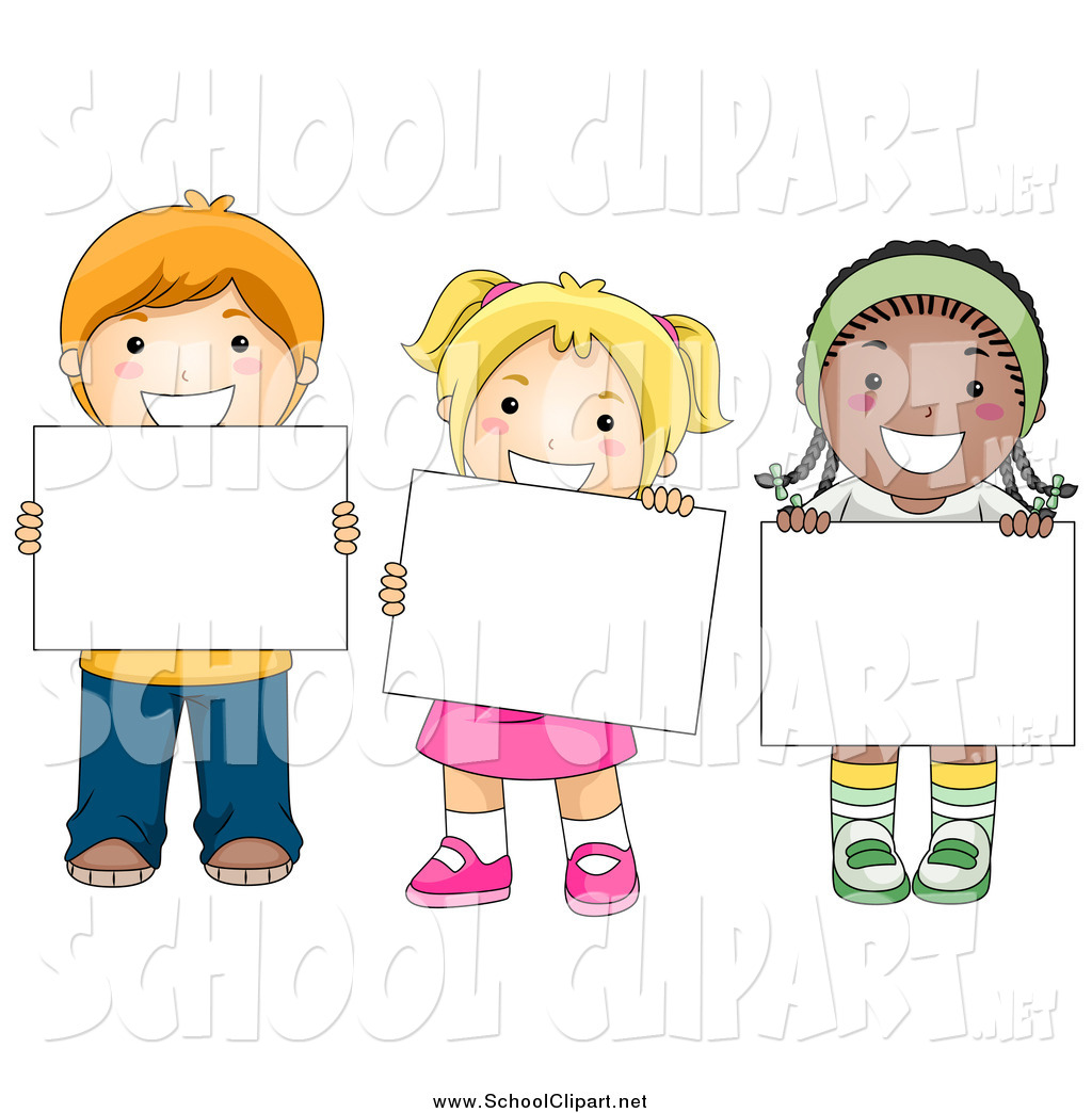Kids holding sign clipart jpg royalty free library Clip Art of White and Black Happy School Kids Holding Blank ... jpg royalty free library