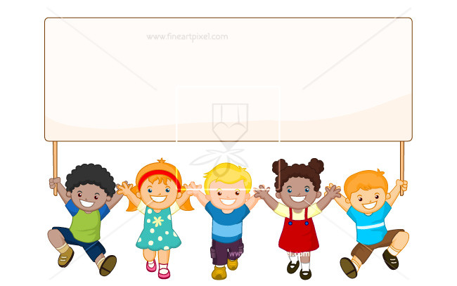 Kids holding sign clipart png library Kids Holding Banner | Free vectors, illustrations, graphics ... png library