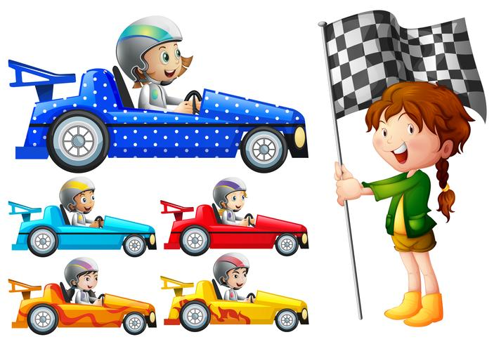 Kids in cars clipart vector royalty free download Kids in racing cars - Download Free Vectors, Clipart ... vector royalty free download