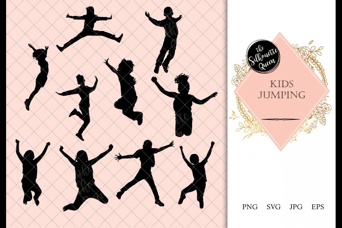 Kids jumping clipart svg black and white library Kids Jumping Silhouette, Kids Jumping Clipart, SVG, cut file svg black and white library