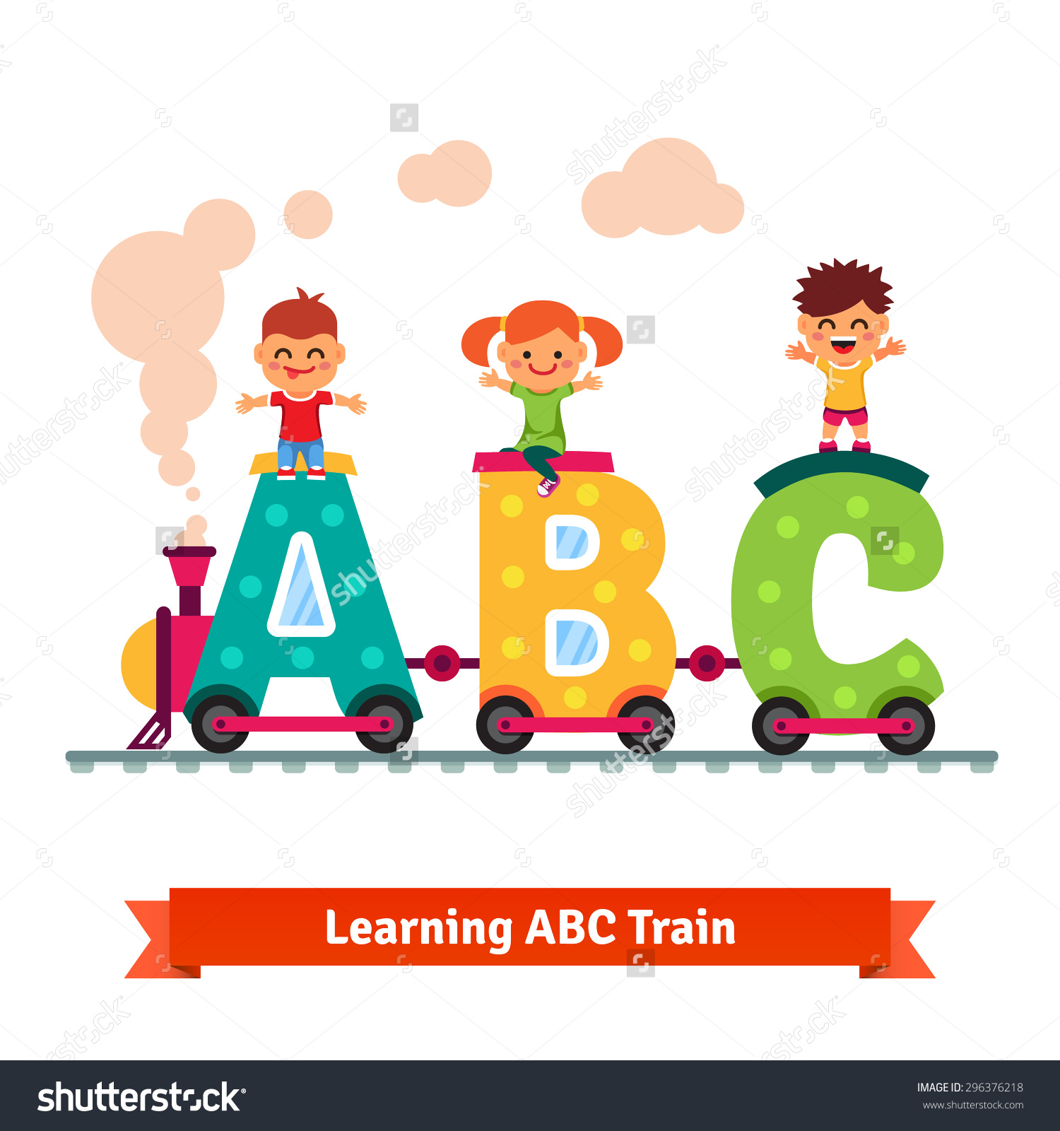 Kids learning abc clipart clip art free stock Kids Boys Girl Riding On Abc Stock Vector 296376218 - Shutterstock clip art free stock