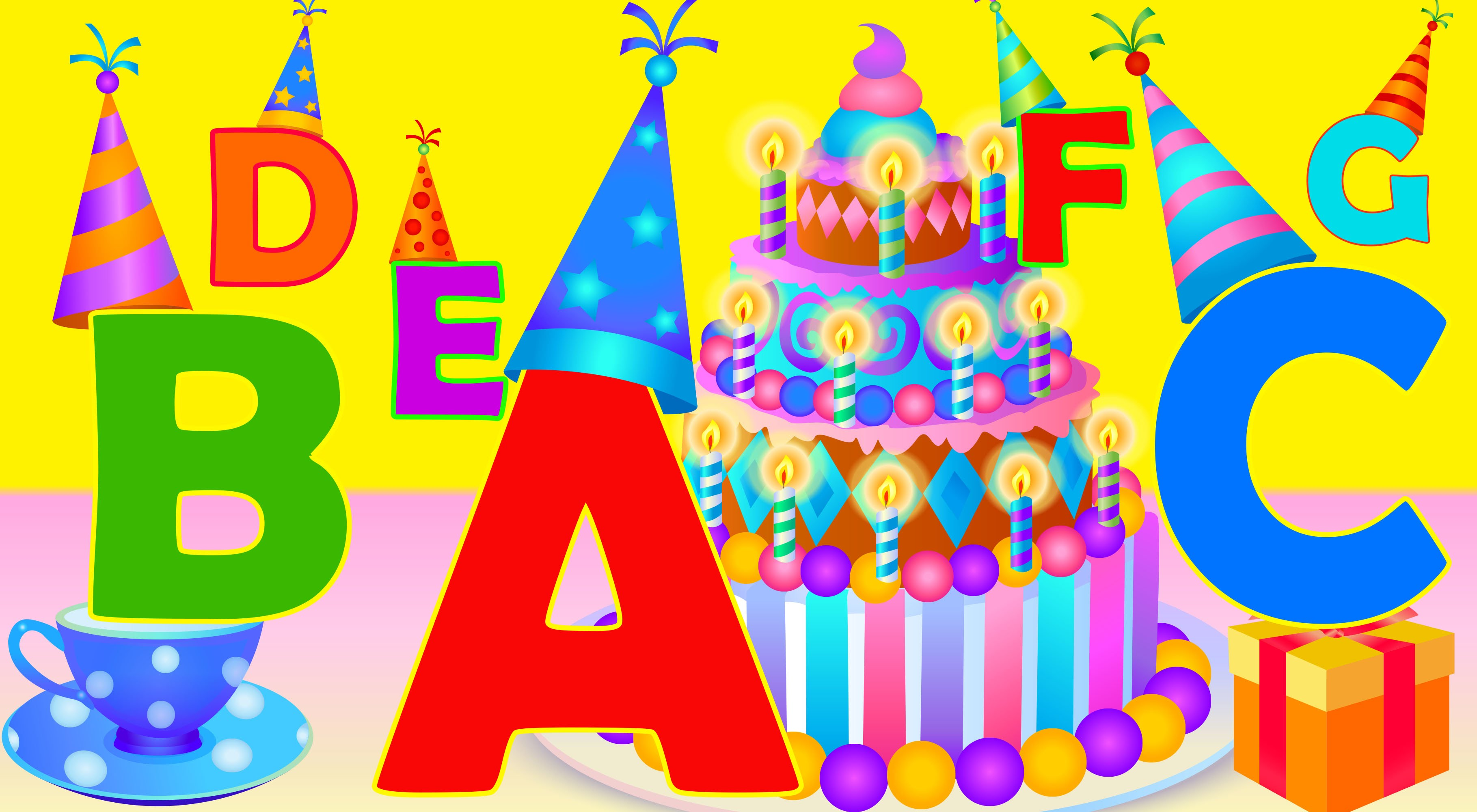 Kids learning abc clipart clip black and white Learn ABC birthday party song. Alphabet for kids. Learn ABC's song ... clip black and white