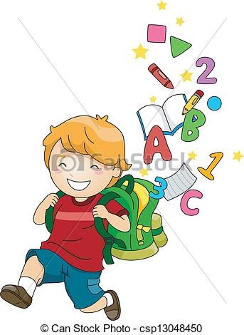 Kids learning abc clipart clip art royalty free download Clipart Vector of Boy Kid with a Backpack of ABC's and 123's ... clip art royalty free download