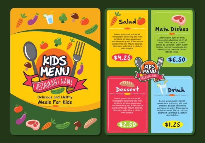 Kids menu clipart png royalty free Cute Colorful Kids Menu Template - Download Free Vectors ... png royalty free