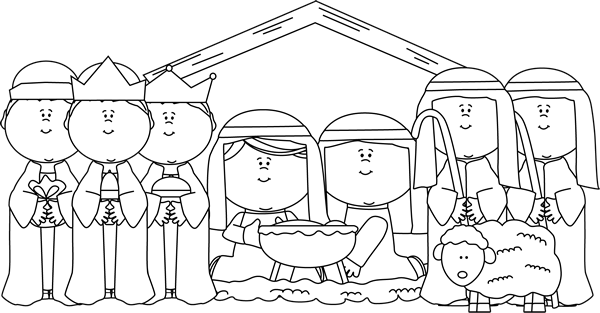 Kids nativity black and white clipart clip art black and white download Free Nativity Black Cliparts, Download Free Clip Art, Free ... clip art black and white download