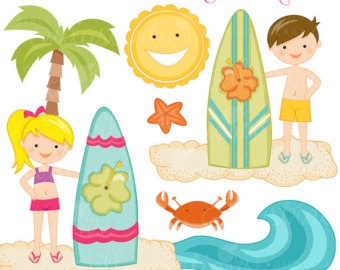 Kids on surfboard clipart