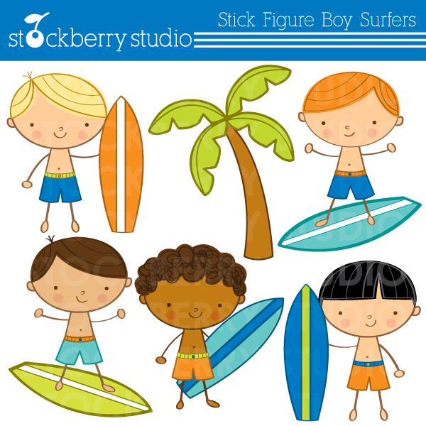Kids on surfboard clipart vector Surfer Stick Figure Clipart - Clipart Kid vector