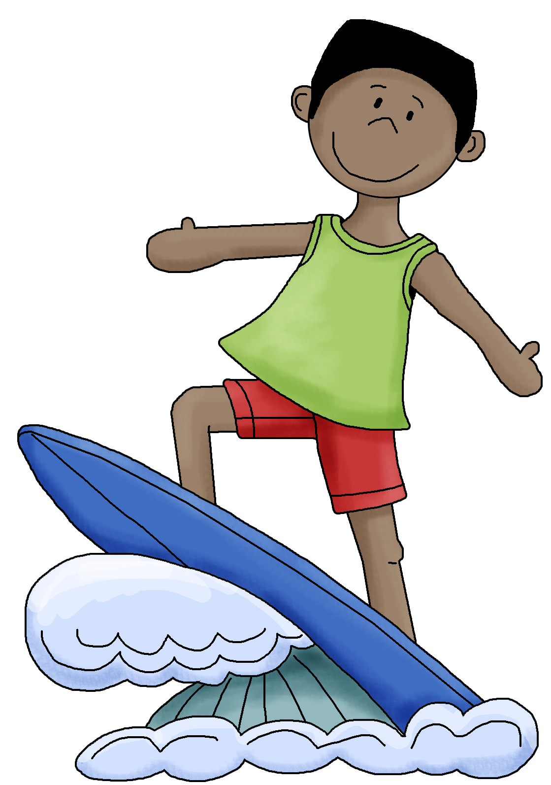 Kids on surfboard clipart banner royalty free Surfer Clipart - Clipart Kid banner royalty free
