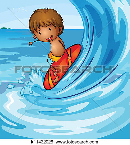 Kids on surfboard clipart clip freeuse stock Clipart of A little man surfing k14510341 - Search Clip Art ... clip freeuse stock
