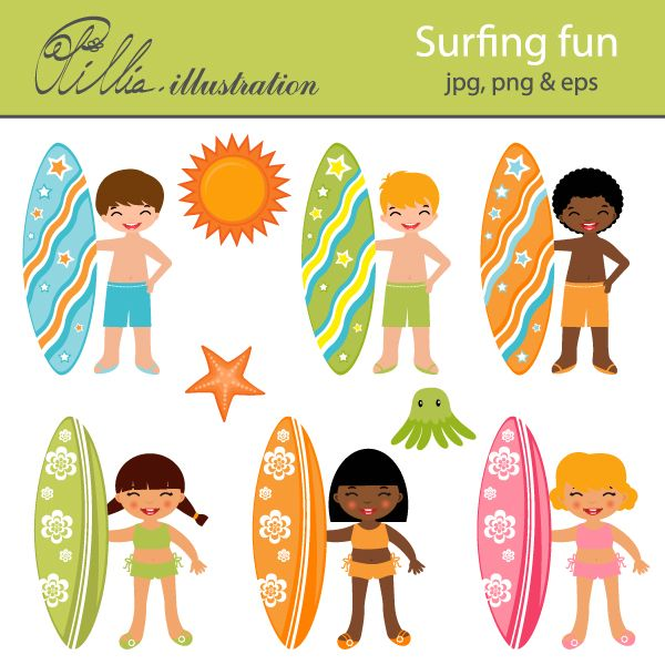 Kids on surfboard clipart clip art free library 17 Best images about Surfers on Pinterest | Surf, Behavior charts ... clip art free library