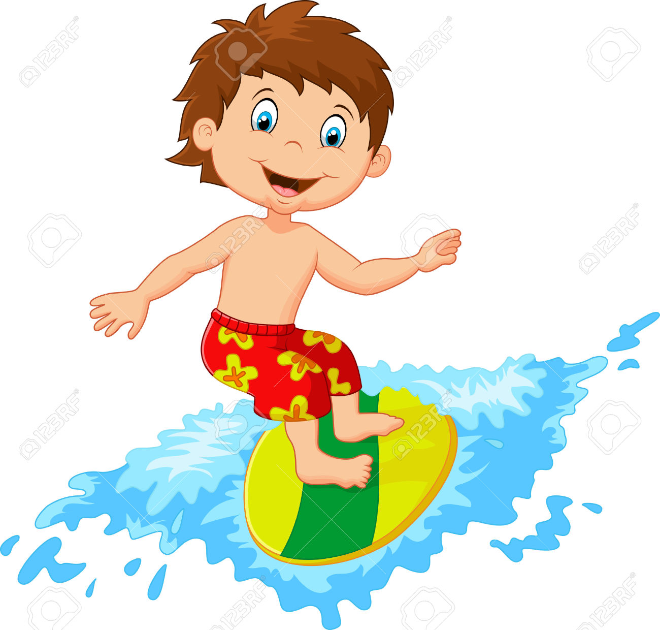 Kids on surfboard clipart clipart freeuse stock 517 Surfing Kids Stock Vector Illustration And Royalty Free ... clipart freeuse stock