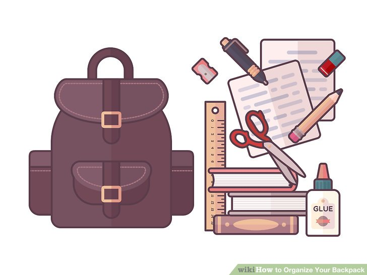 Kids pack backpack to go home clipart clip royalty free library How to Organize Your Backpack: 14 Steps (with Pictures ... clip royalty free library