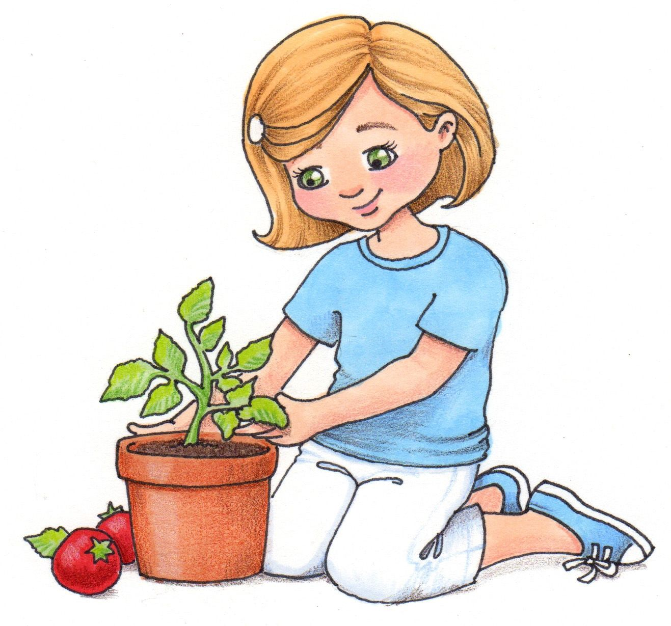 Kids planting flowers clipart jpg freeuse library children planting flowers clip ... | Tavasz/Spring | Rhymes ... jpg freeuse library
