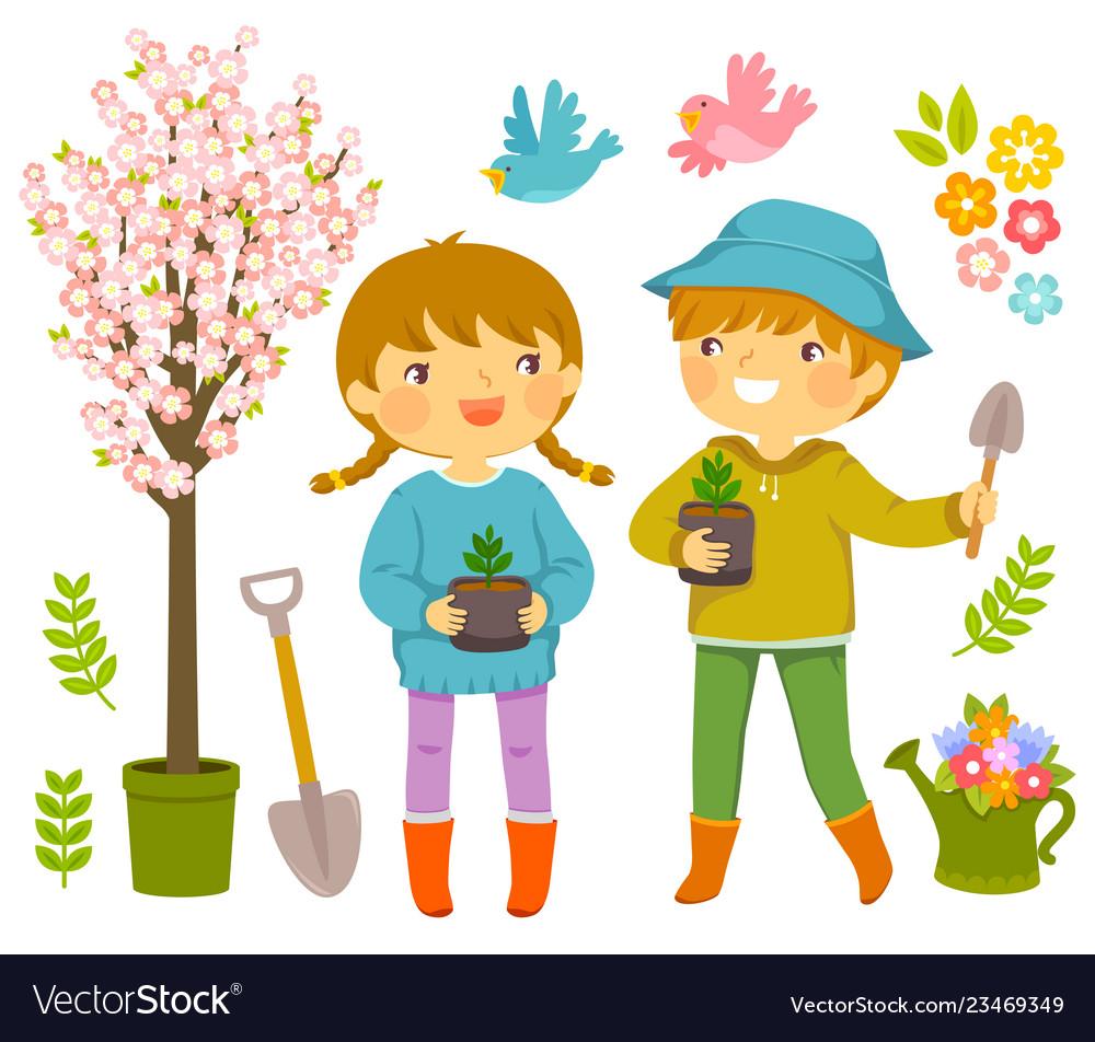 Kids planting flowers clipart transparent stock Kids planting transparent stock
