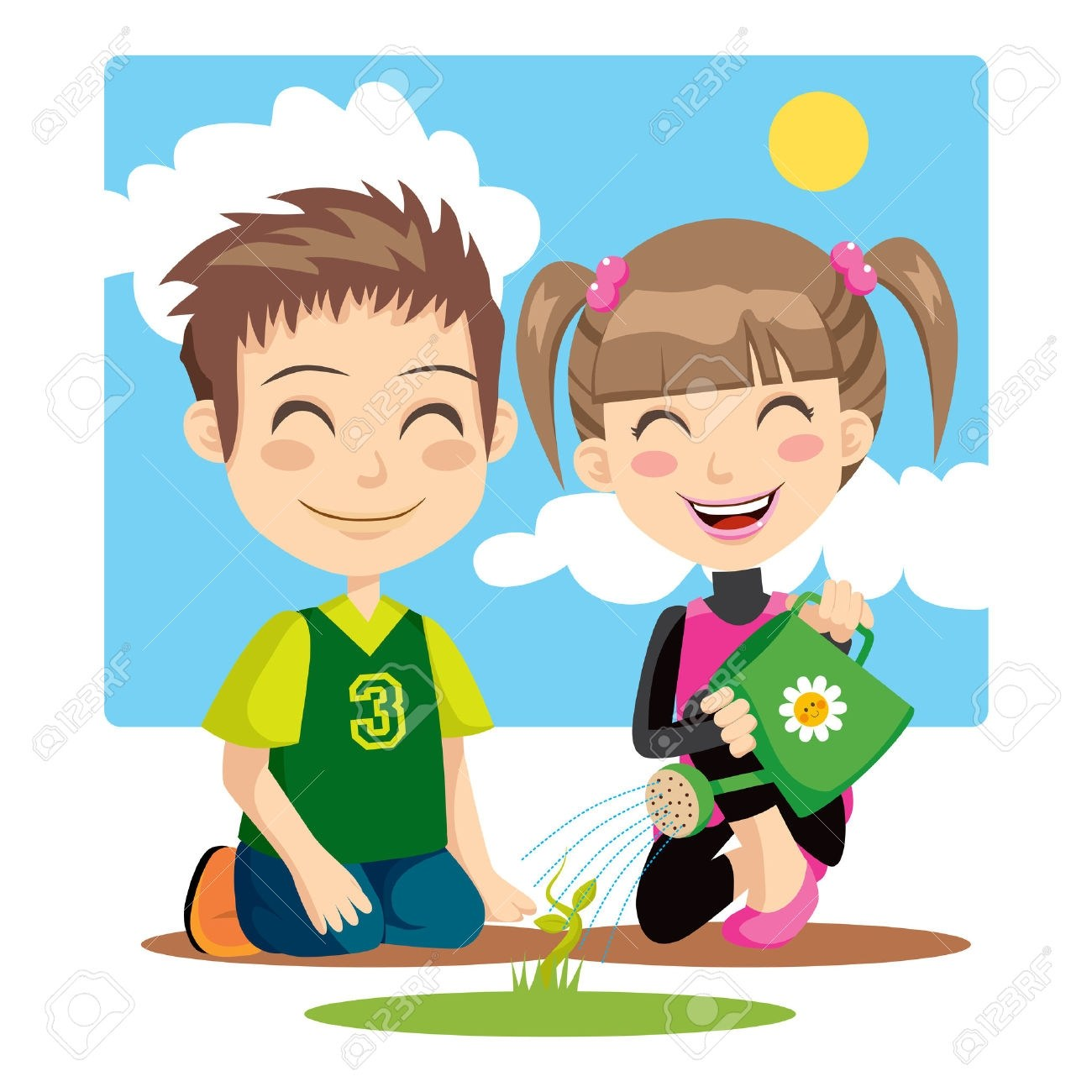 Kids planting flowers clipart picture library stock Kids planting flowers clipart 5 » Clipart Portal picture library stock