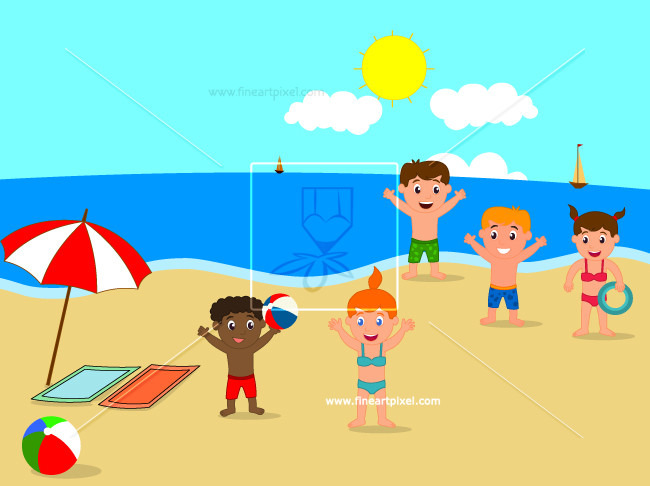 Kids at the beach clipart png library download Kids playing on the beach | Free vectors, illustrations, graphics ... png library download