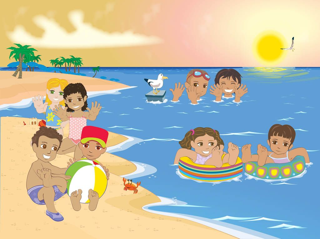 Kids at the beach clipart picture black and white download Kids Beach Clip Art Kids At The Beach | Kindergarten math ... picture black and white download