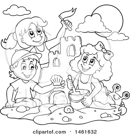 Kids at the beach clipart black and white picture freeuse library Kids at the beach clipart black and white 2 » Clipart Portal picture freeuse library