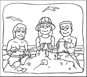 Kids at the beach clipart black and white banner free stock Clip Art: Kids: At the Beach B&W I abcteach.com | abcteach banner free stock