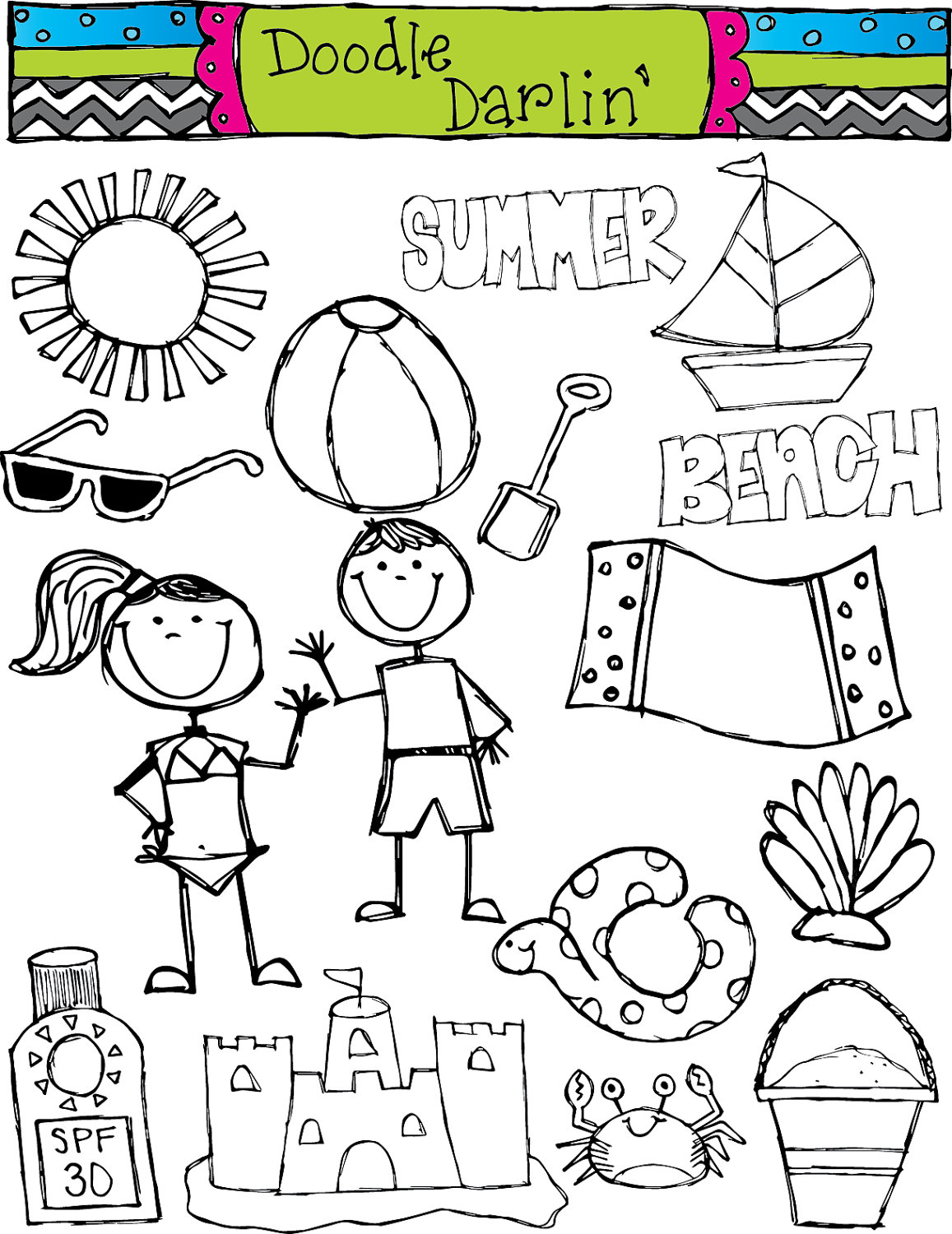 Kids at the beach clipart black and white clipart black and white stock 29+ Summer Clipart Black And White | ClipartLook clipart black and white stock