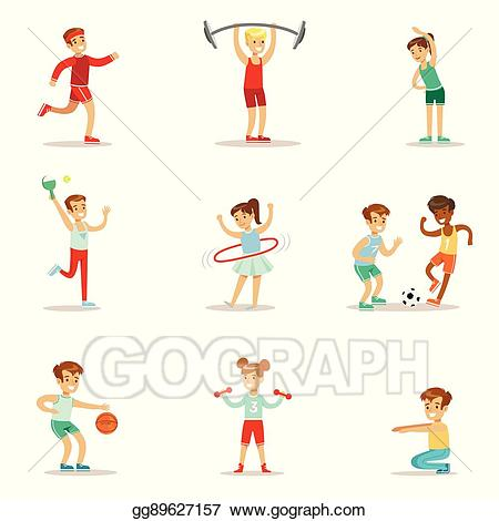 Kids playing in gym clipart png royalty free stock Vector Art - Kids practicing different sports and physical ... png royalty free stock