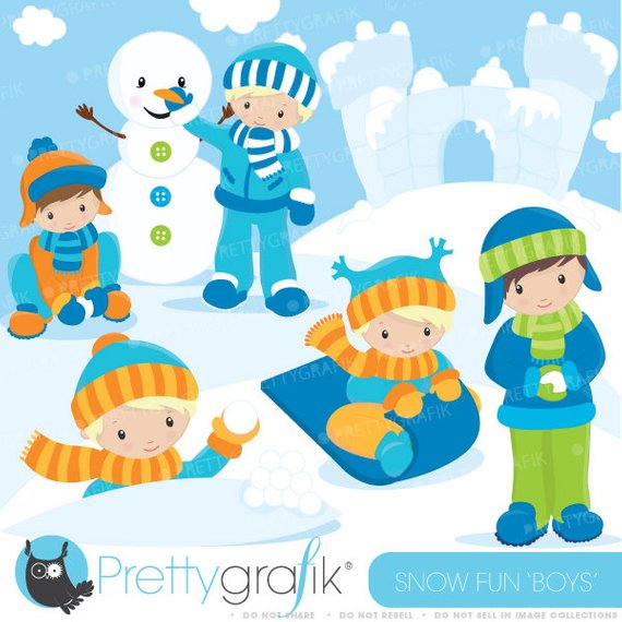 Playing in snow clipart banner freeuse library BUY20GET10 - Snow boys clipart commercial use, vector ... banner freeuse library