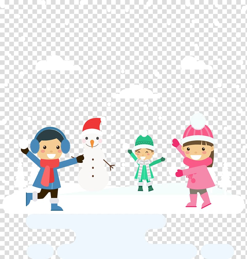 Kids playing in snow clipart transparent background image transparent Snowman Winter, Winter snow and children transparent ... image transparent