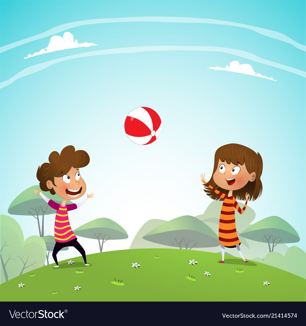 Kids playing in the park clipart vector freeuse download Two children playing with a ball in the park vector freeuse download