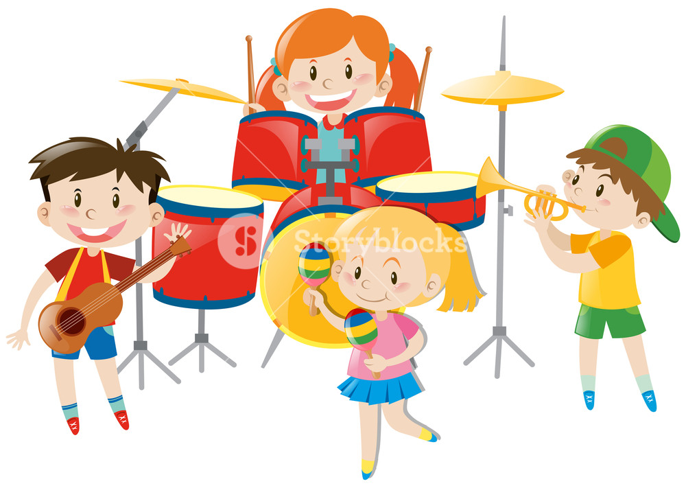 Kids playing music clipart free library Children playing music in band illustration Royalty-Free ... free library
