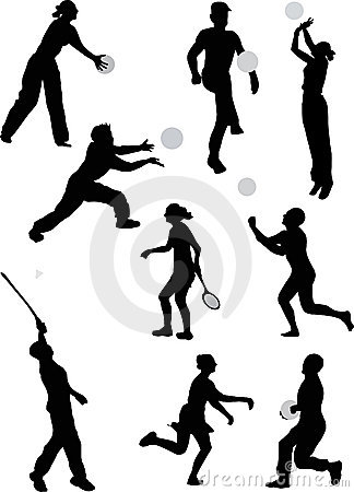Kids playing outdoor games black and white clipart