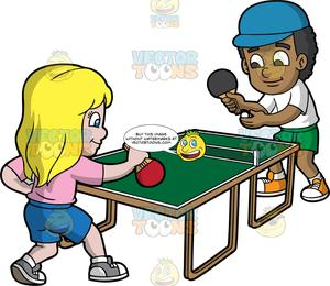 Kids playing outdoor games black and white clipart png freeuse A Black Boy And White Girl Playing Table Tennis png freeuse