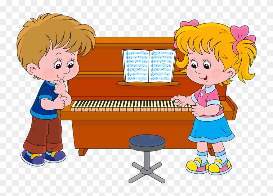 Kids playing piano clipart png black and white Free Library Png Pinterest Child - Cartoon Kids Piano ... png black and white