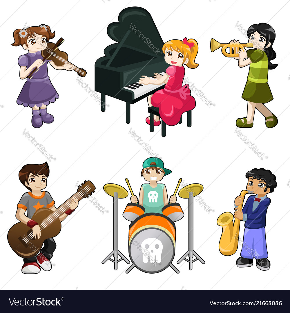 Kids playing piano clipart banner black and white stock Different kids playing musical instrument banner black and white stock