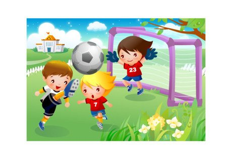 Kids playing soccer clipart black and white download Free Children playing football motions Clipart and Vector ... black and white download
