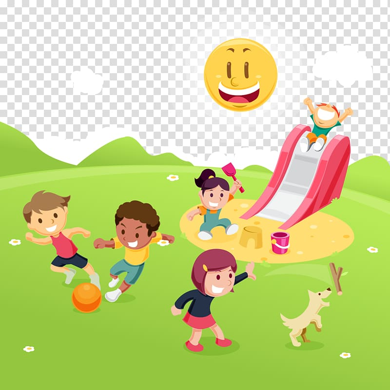 Kids playing tag at the park clipart clip transparent download Children playing on playground illustration, Child Park Game ... clip transparent download