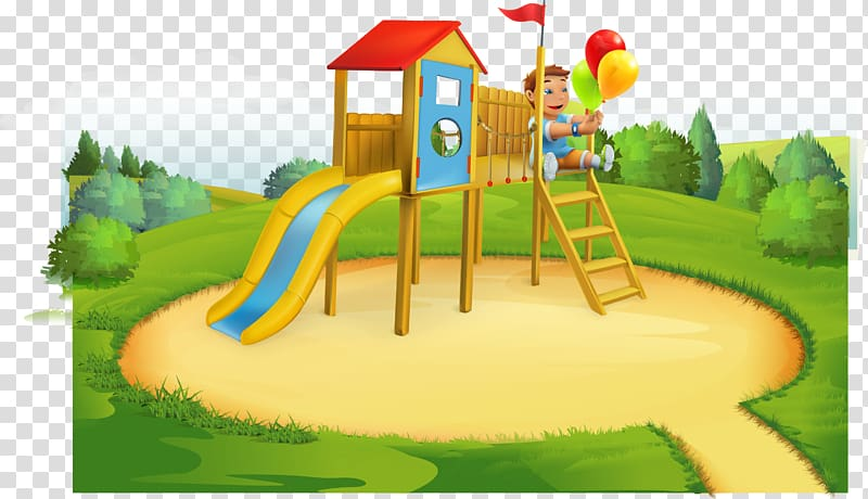 Kids playing tag at the park clipart picture transparent Boy holding balloons playing on brown and red outdoor ... picture transparent